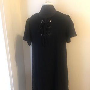 Black linen drop waist dress